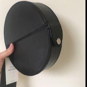Zara leather oval minaudière bag